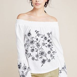 Anthropologie Annie Embroidered Off The Shoulder